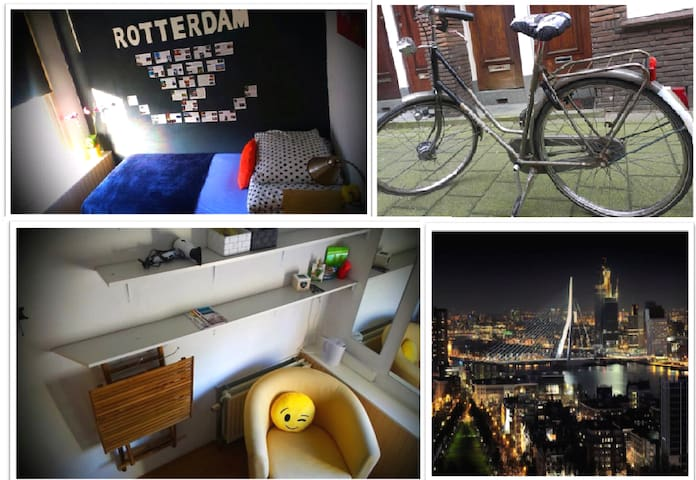 Bike included with room to easier your stay. - Rotterdam - Yatakhane