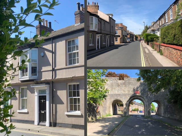 Views of the house by York's historic walls.
