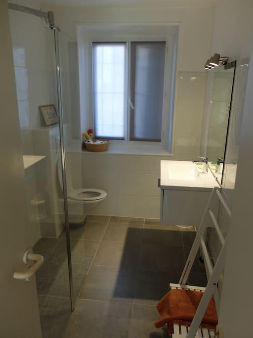 salle de bain rénovée avec douche à l'italienne