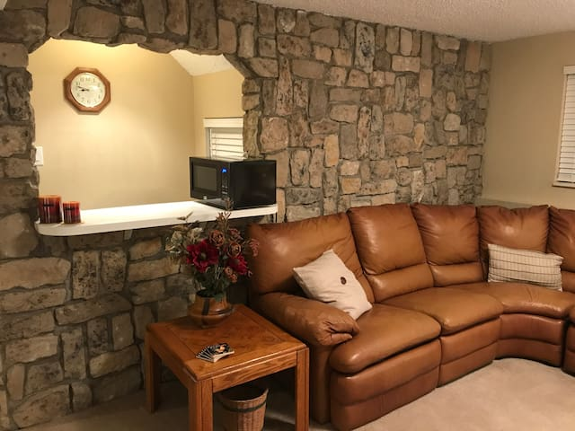 Living Room with a Wet Bar Area