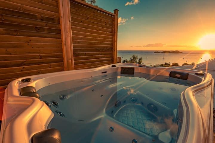 Spacieux Lodge privatif + Jacuzzi vue mer
