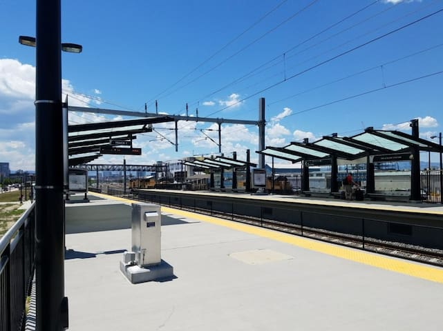 No car?  No problem!  The train station is a 7 minute walk from our house.  Hop on it for 4 minutes to get to the heart of downtown Denver.  It also can take you directly to/from the airport for only $10 (compare that with an Uber fair of $35).