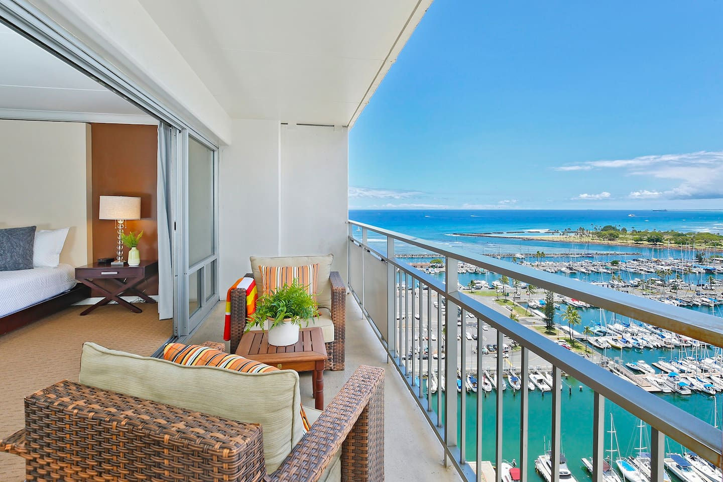 The beautiful marina and ocean views from this contemporary 20th floor studio at The Ilikai, made famous in the opening credits of the original Hawaii Five-O, will remind you that you're on vacation in one of the most beautiful places on earth!