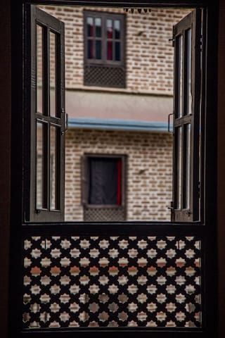 Perspective. View from our restaurant building towards the homestay building