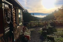 Fall and dusk at the cabin make for a fantastic setting