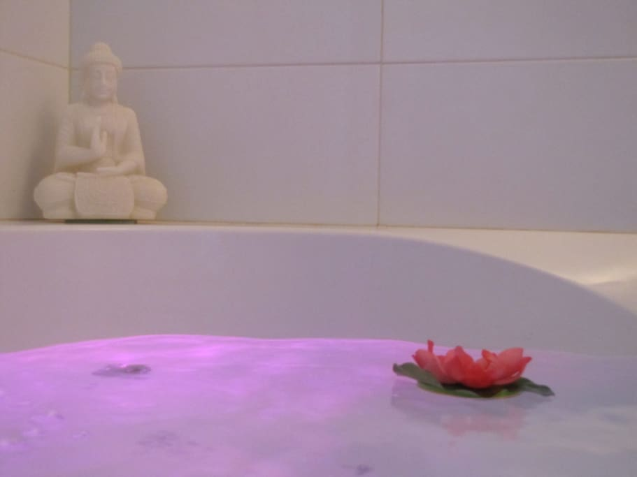 Enjoy a bath after a day in town, comfort for two with silent jacuzzi. Changing lights colours the water like a limonade.