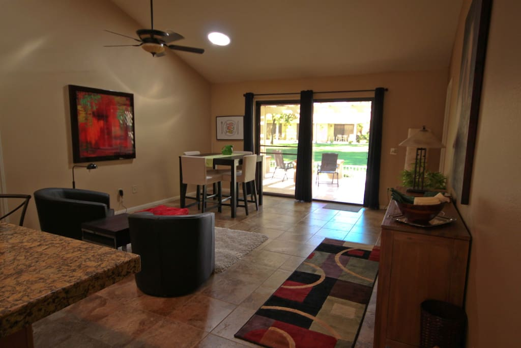 Spacious main living area with direct patio access