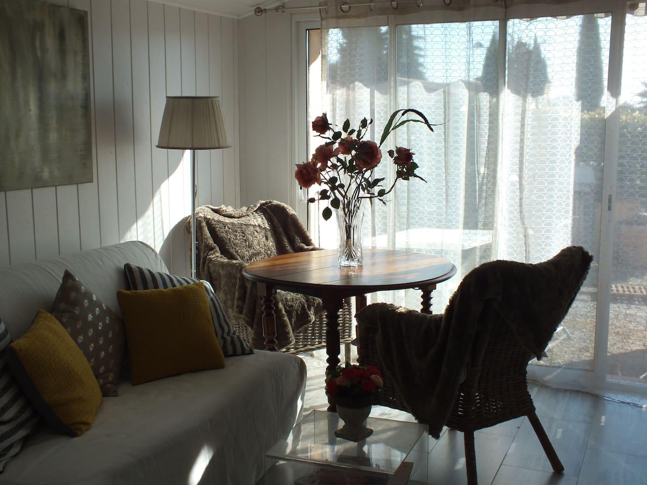 Salon du studio ensoleillé, avec canapé bz et table.