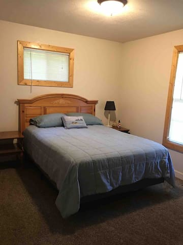 One of two bedrooms with new queen size bed.  Large closet (not shown).