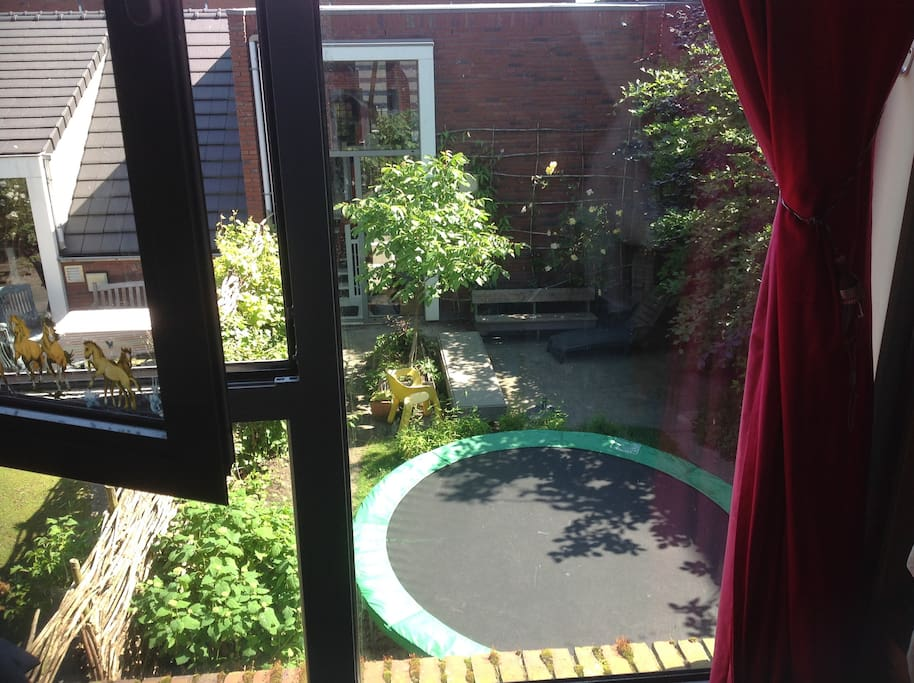 view from child bedroom into garden