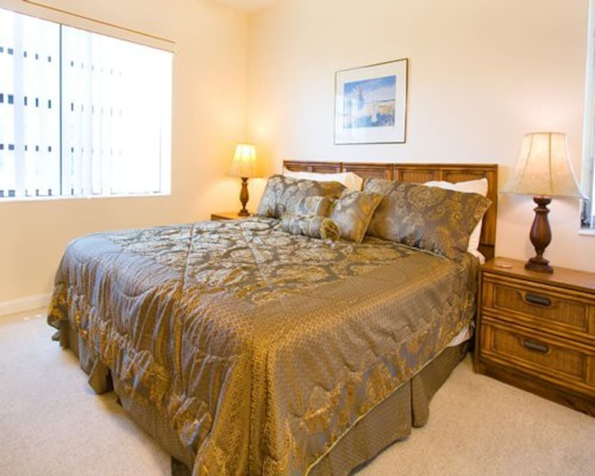 Relax on a cozy queen size bed