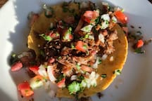 For dinner, guests can order our goat taco meal kit. Dinner for 2 in about 15 minutes.