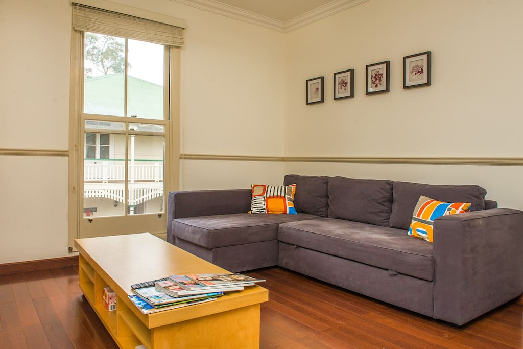 Living area with double pull out sofa