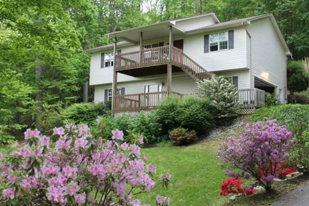 Our mountainside home, private basement entrance on bottom porch.