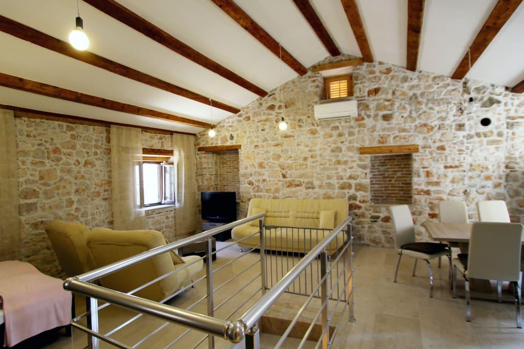Bright high ceiling attic studio