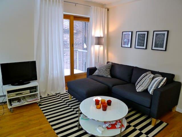 Living room with balcony door.