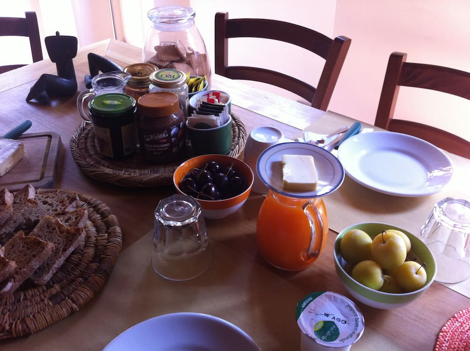 Breakfast with fresh baked bread, cakes, homemade jams, eggs, cheese, fruit... organic and local products