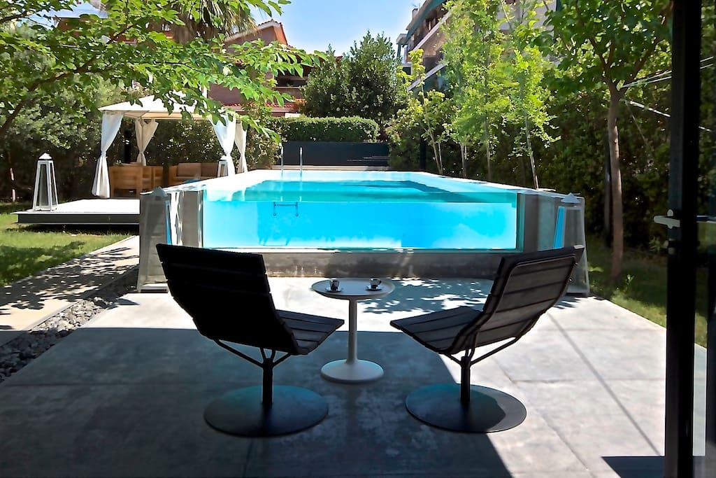 private garden + pool