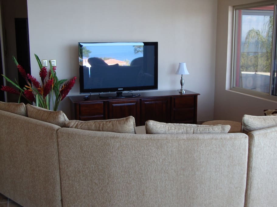 Large screen TV with DVD player and WiFi available