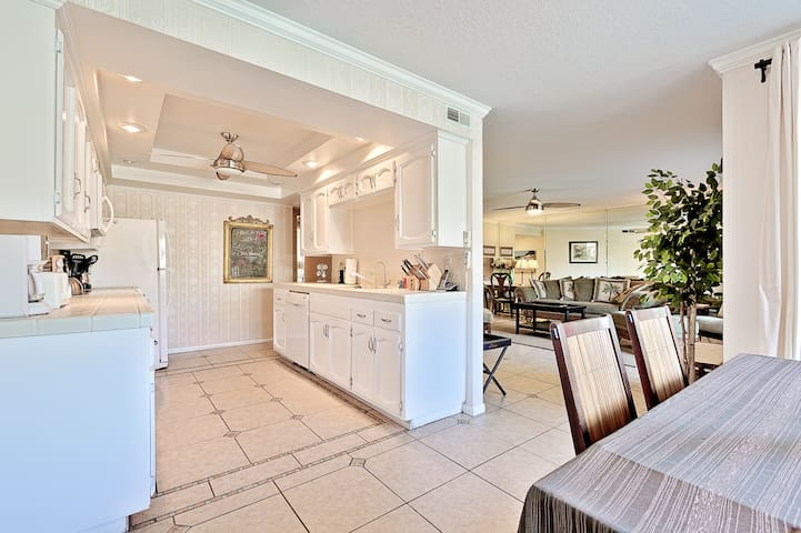 The fully equipped kitchen has everything you could possibly need to prepare meals for family and friends.in