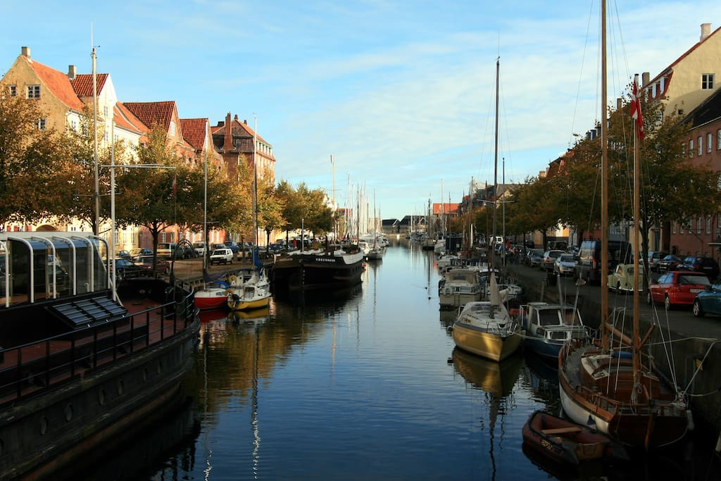 One of Christianshavns charming canals - just around the corner.  100 Meters