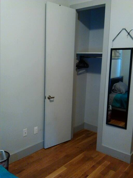 Full closet and shelf, hangers provided
