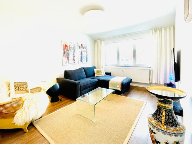 Living room with comfortable designer kingsize sleeping couch. State of the art Smart 55 K HD/TV, Bose Soundsystem and collectible arts and antiques.