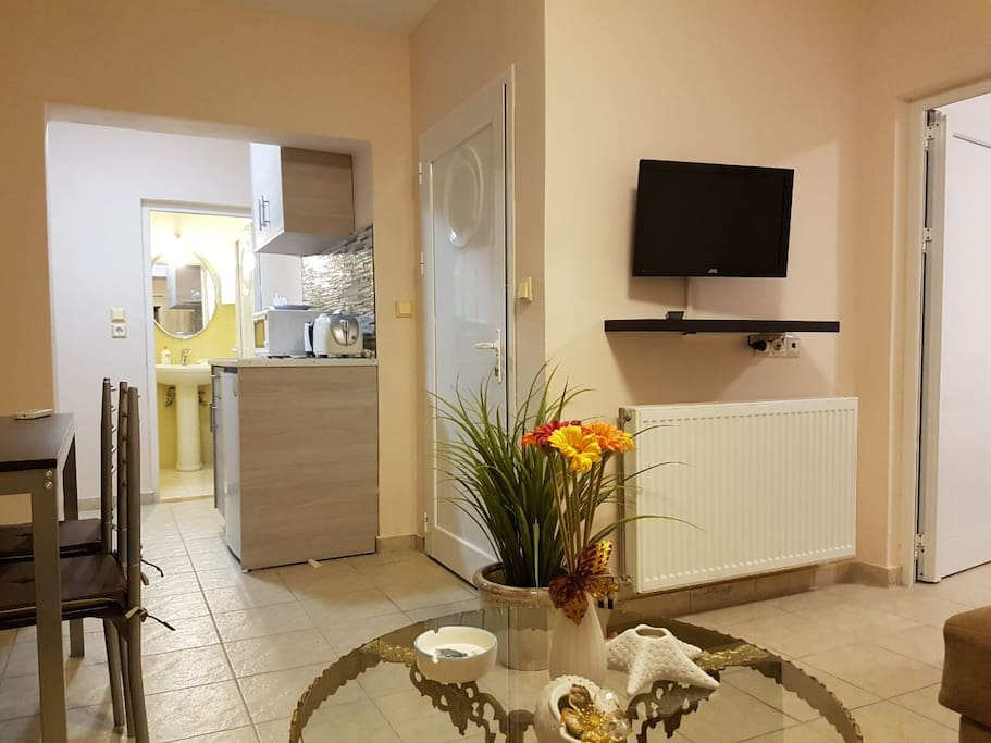 Newly refurbished open plan Lounge with TV, Dining area and Kitchenette.