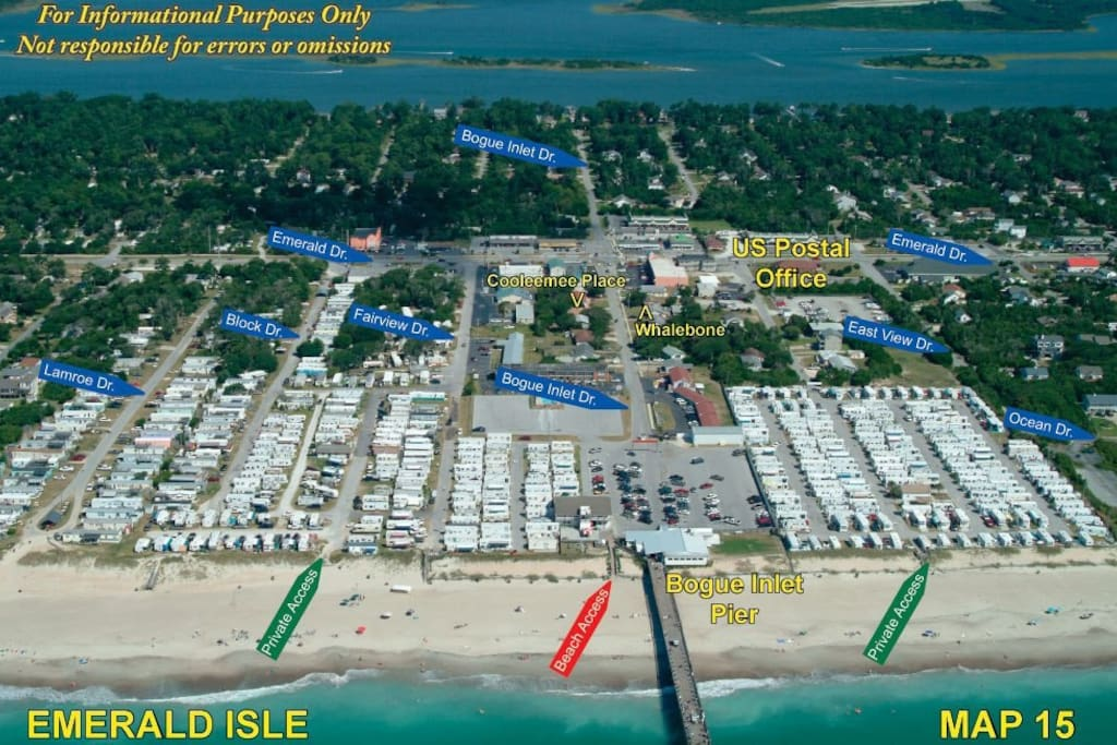 House is right before Whalebone, 5 minute walk down the street to the Pier or Public Beach (red)