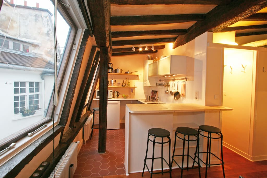 Kitchen overlooking the roofs of Paris
