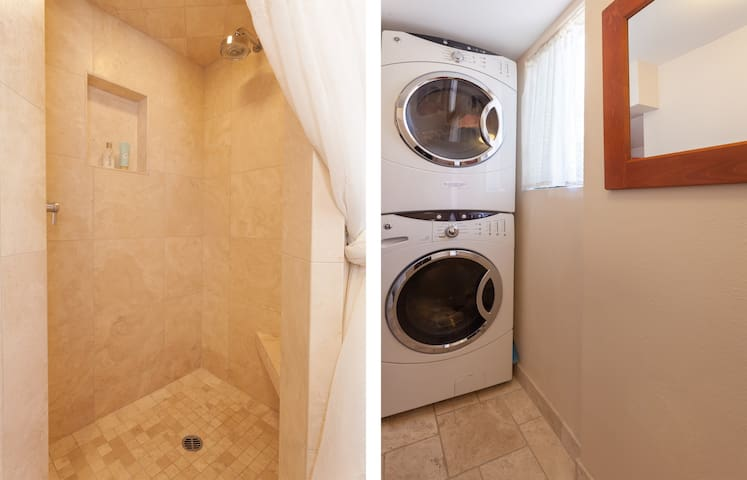 Separate shower & laundry room allows more space for guests which can also be accessed from the patio, showering after a swim!