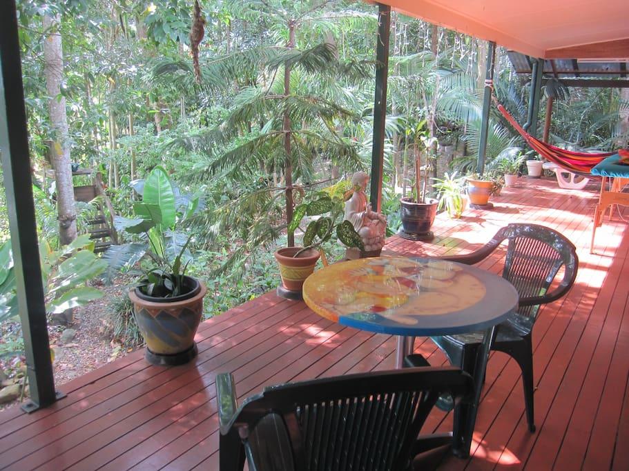 Enjoy breakfast on the verandah