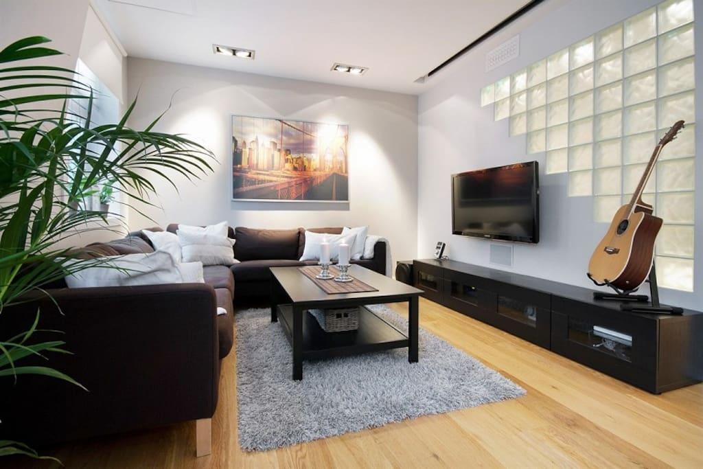 Stor stue, stor sofa, musikkanlegg, tv, internett.