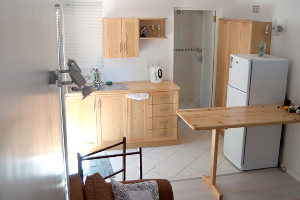 Kitchen area with Microwave