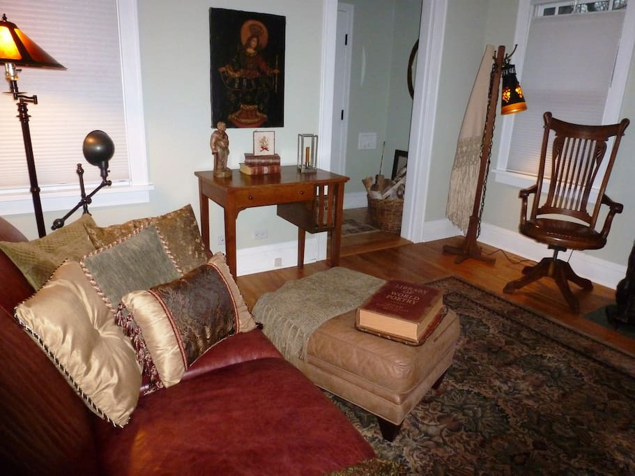 Open living room and dining room perfect for a romantic evening or relaxing after a downtown Minneapolis Blast