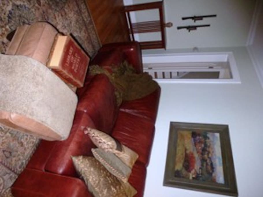 Snuggle into the comfy leather sofa for a nap, great book or conversation