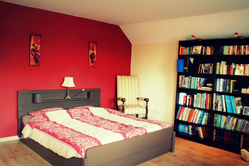 Big bedroom with kingsize bed and library.