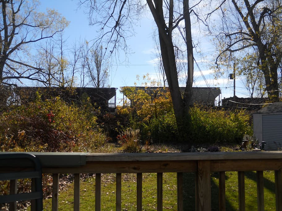 back yard view of train in the fall of 2010