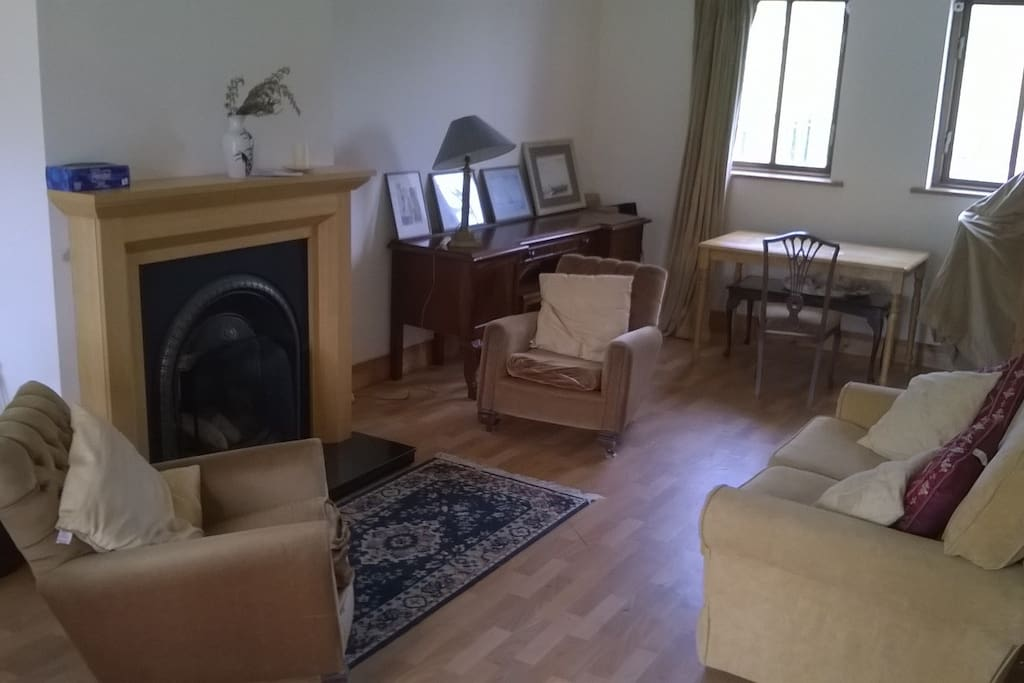 Spacious living/dining area with open fireplace and underfloor heating if you need it.