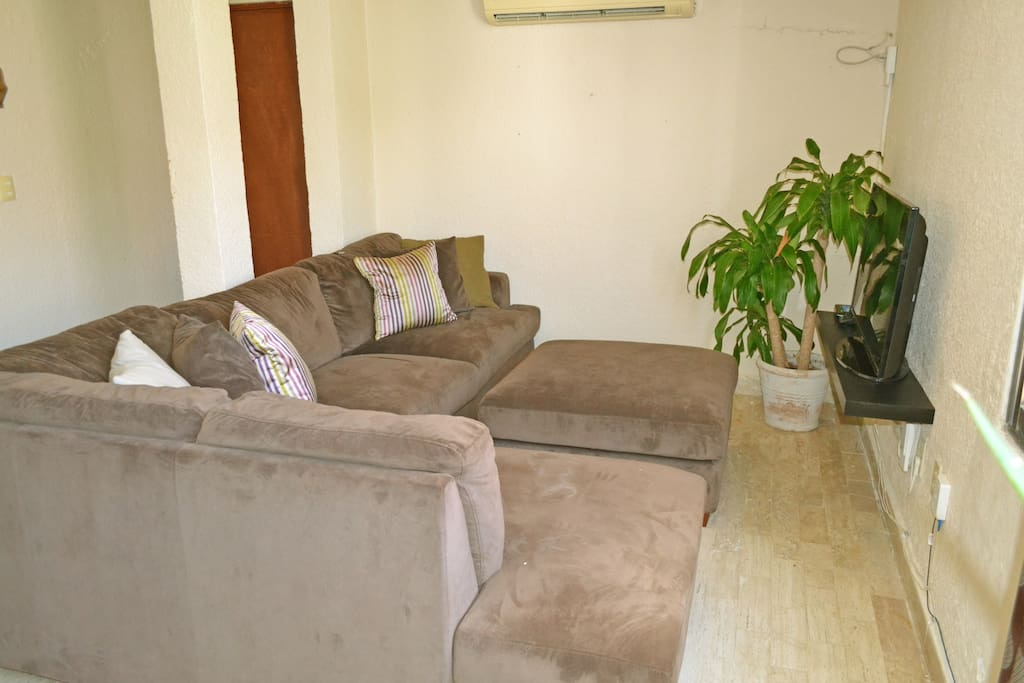 Brand new super comfy sofa can easy sleep an extra person. As well as new LCD Tv with Netflix included.