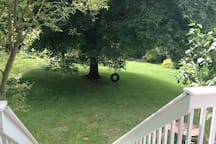 View of backyard and tire swing from deck.