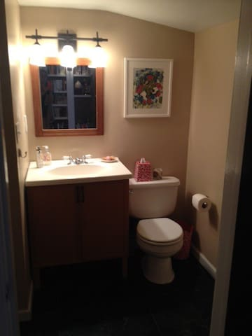 Powder Room downstairs. Also has stand up shower. (No bathtub.)