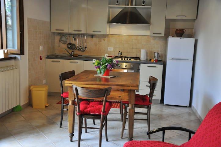 cucina soggiorno dotata di finestra, ingresso dal giardino, soffitto con travi a vista.