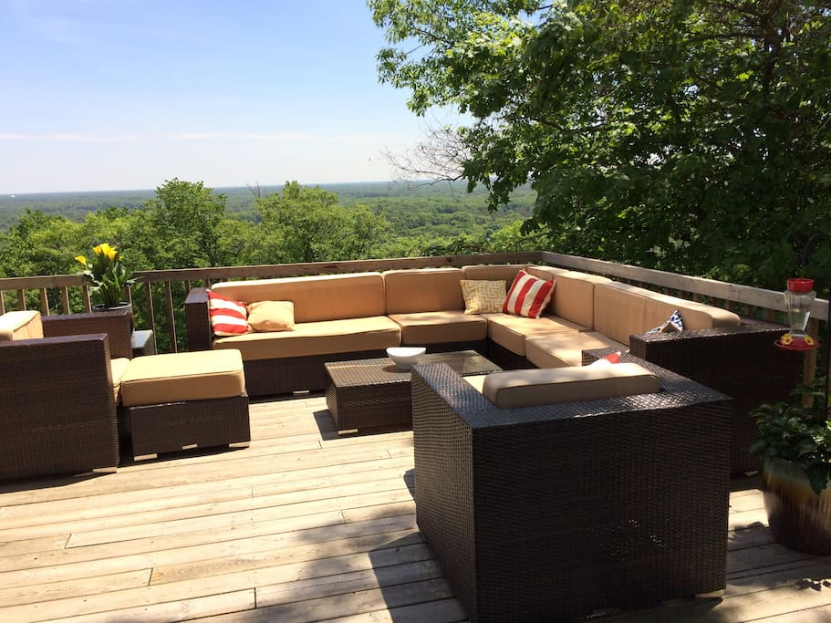 Outdoor living room set for you to relax while looking over West Michigan.