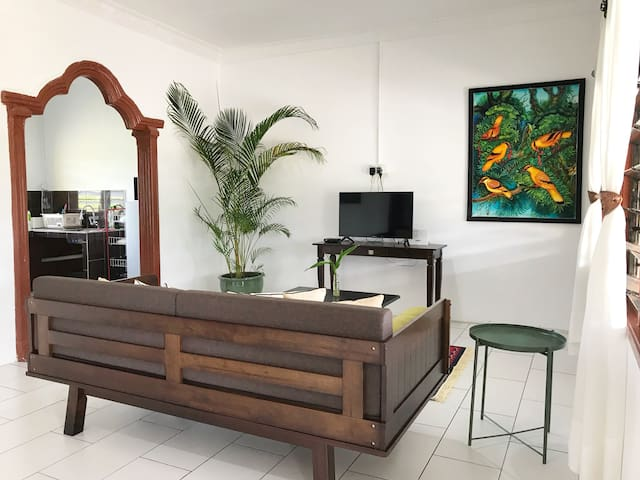Bright and spacious living room nicely decorated in modern tropical style