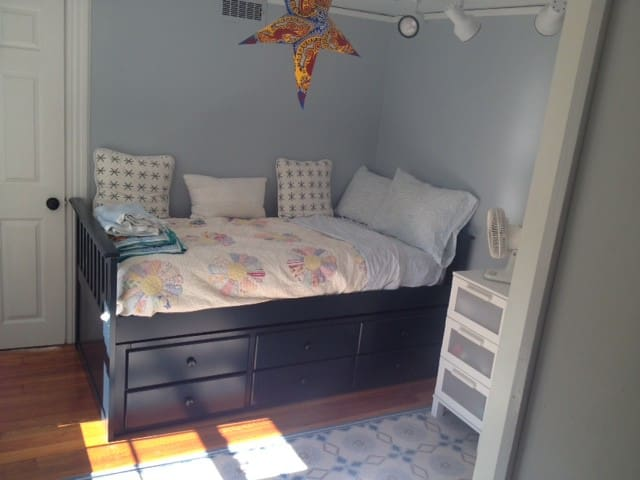 2nd bedroom on 2nd Floor. Single bed with a trundle bed underneath that pulls out, so could sleep two people.