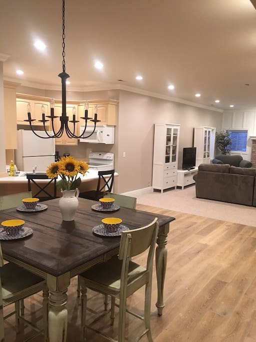 Kitchen, dining, and family room