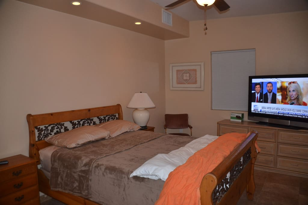 Master has Queen Bed and large screen TV