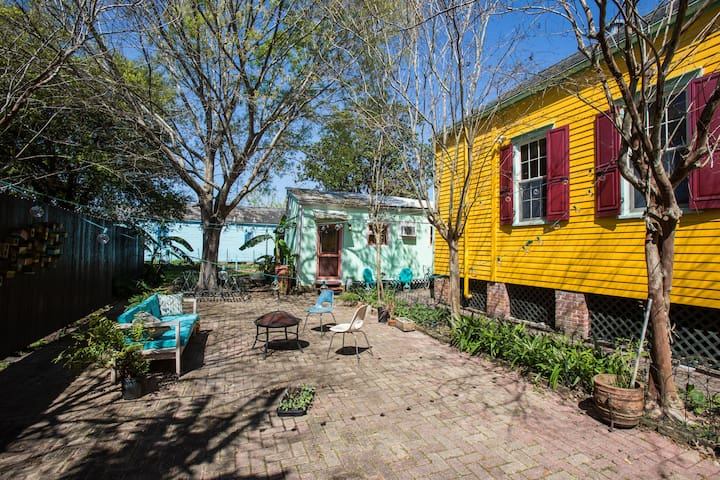 Yours is the blue guest house. We live in the yellow one!