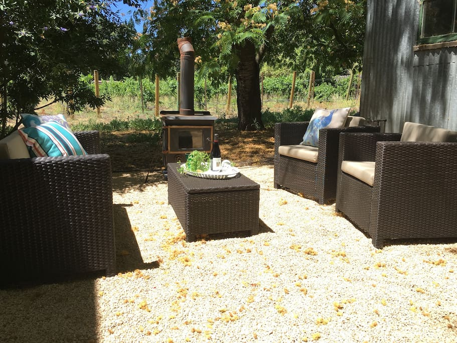 Outdoor sitting area with firebox